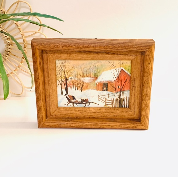 Vintage | Winter Barn Painting by Dorothy Wagner